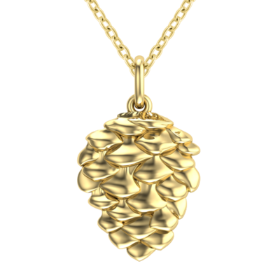 gold plated silver classic pinecone necklace