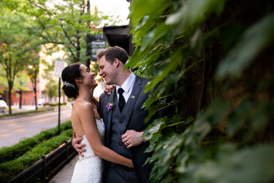 Bride and groom portraits at East 4th Street in Cleveland, Ohio.