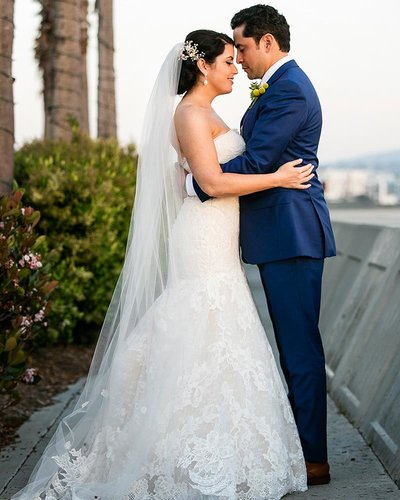 bride groom sunset portrait portofino hotel redondo beach