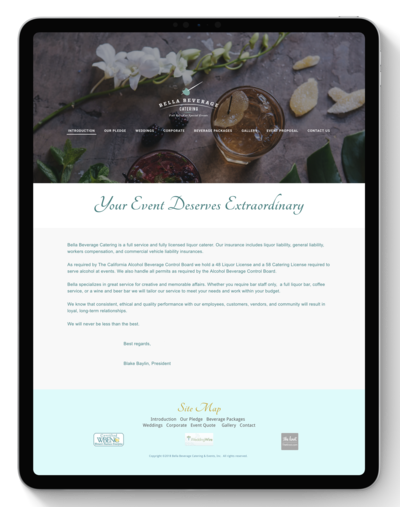 Bella Beverage Catering Website Before Transformation