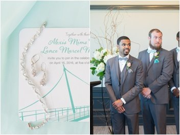 groom sees bride during commerce club ceremony