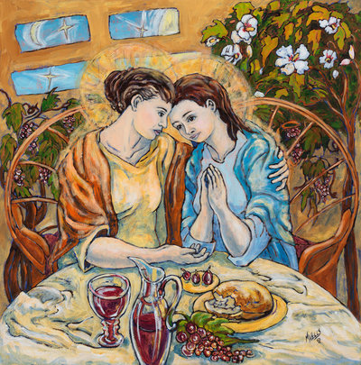 Oil Painting, Naïve style, of Mary telling her Mother, Anne, the news of the baby, an archetypal moment of love between many Mothers and Daughters.