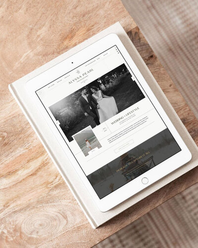 iPad with a website by Grace and Gold Website design for Showit