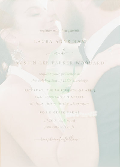 Double Exposures of Bride and Groom overlaid with there invitation