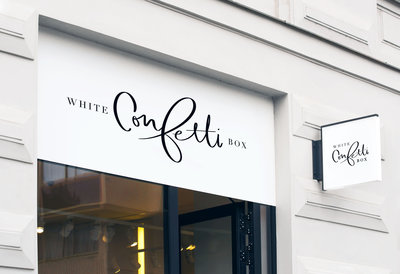 White Confetti Box calligraphy logo