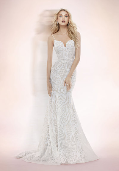 Blush by Hayley Paige bridal gown - Ivory Marrakesh beaded fit to flare bridal gown, sweetheart neckline with spaghetti straps and low scoop back, elongated bodice with ivory embellishment over cashmere lining and full circular skirt.