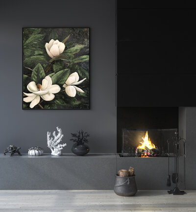 August Night on dark grey wall, small fireplace