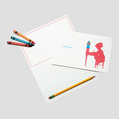 Coral and Blue Stationery for Kids