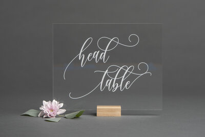 Clear Acrylic Head Table Sign
