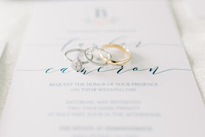 Wedding Photographer, detail shot of rings and invite