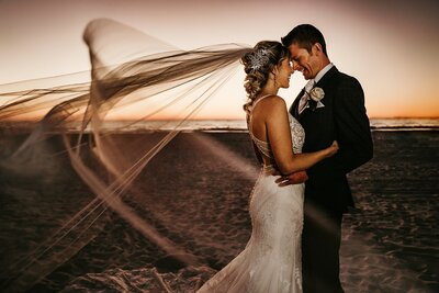 clearwater bride and groom kissing after wedding
