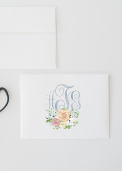 Custom Triple Monogram Floral Watercolor Stationery