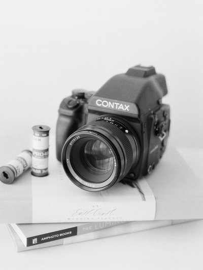 Jacqueline Anne Photography, Halifax Wedding Photographer shows off her Contax 645 camera in Halifax Studio