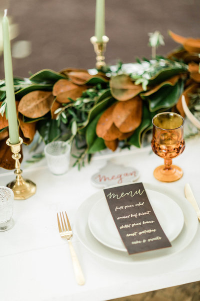 wedding table with leather menu