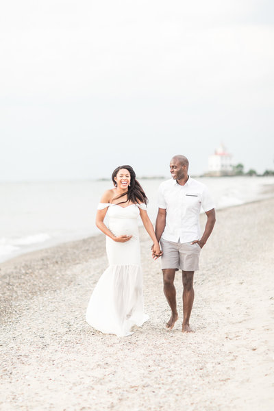 New mom and dad at maternity session with Cleveland Newborn Photographer