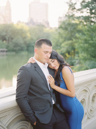 Stylish and romantic couple at their engagement session in Central Park on film