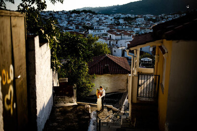 greek wedding photography in skiathos old town - Sunset phiotography