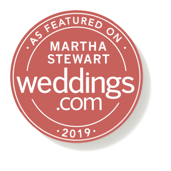 Featured on Martha Stewart Weddings badge for Willow and Oak Events