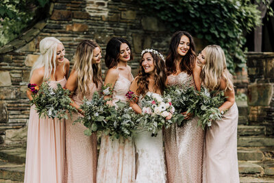 Bridal party bridesmaids wedding cleveland bride