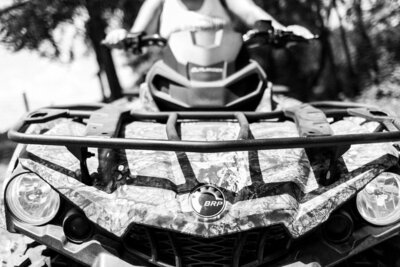 Blakc and white BRP four wheeler and ATV in black and white