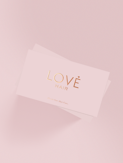 Love Hair rose gold business cards