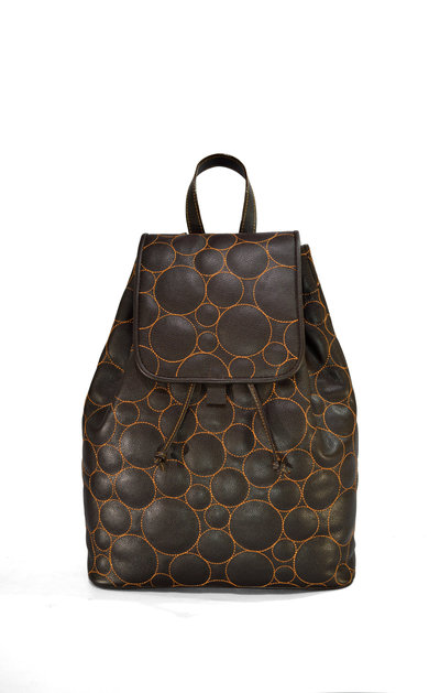 GraceLou Chocolate Backpack (front view)