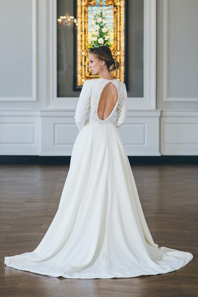 Back view of the Iman winter ballgown wedding dress from the 2018 Edith Elan bridal collection