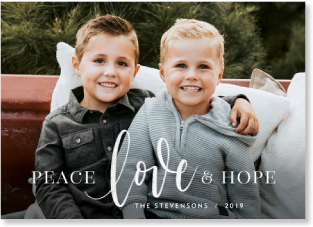 peace love hope Christmas card