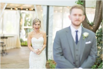 excited bride sees groom on wedding day at Twigs