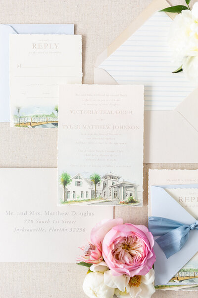 atlantic beach country club wedding invitation deckled edge vintage stamps wax seal 1