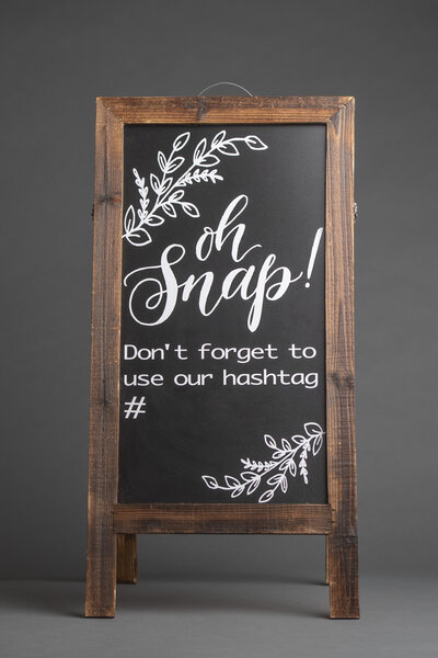 Wooden Wedding Hashtag Chalkboard Sign