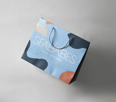Bright blue Shopping Bag mockup designed by Ile Alafia Design Co.
