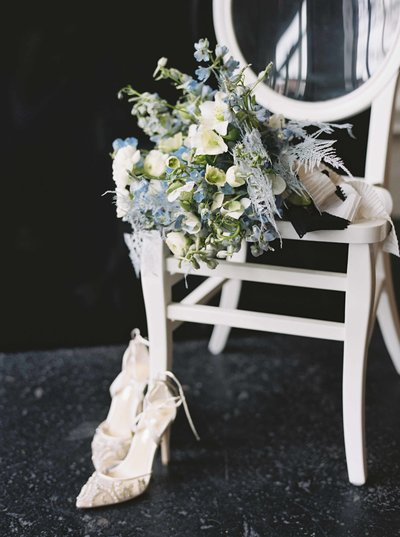 Black and Blue Wedding Bouquet and Bridal Shoes