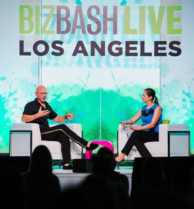 Biz Bash on stage hires