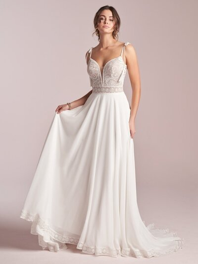 Delicate Chiffon Sheath Wedding Dress. It's a tricky thing to look delicate and effortless simultaneously, but the payoff is spectacular-á la this chiffon sheath wedding dress in soft lace and heavenly chiffon.