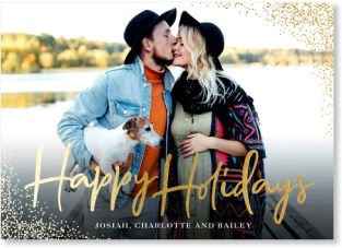 Gold foil holiday photo card