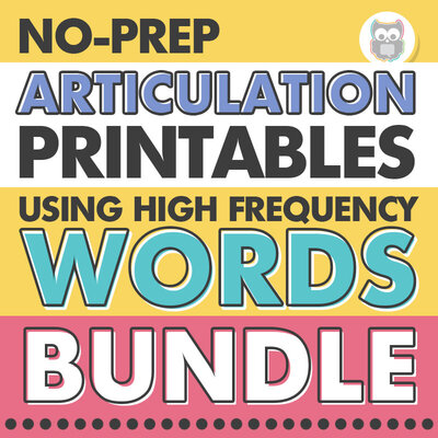 No prep articulation printables using high frequency words bundle