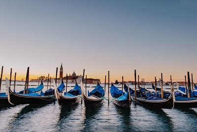 Sunrise Gondola in Venice Italy by Amanda Dumouchelle Photography Copyright