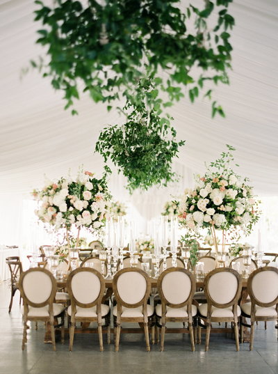 Ursuline Convent Wedding with greenery chandeliers