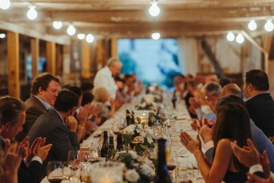 Long Table in Barn Dinner Catskills Barn Wedding Catskills Wedding Planner Canvas Weddings