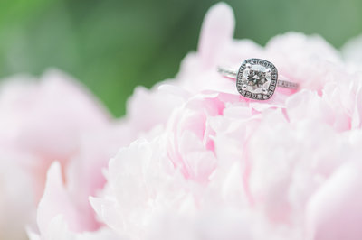Engagement ring placed on top of pink flowers.