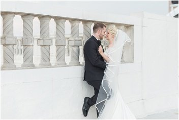 bride and groom on the roof of The Westin Poinsett