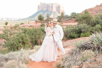 Amanda and Dillon pose in front of Courthouse Rock during their elopement