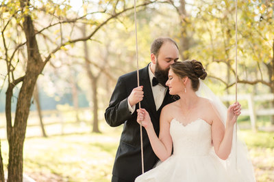 wedding couple kisses on swing at estate at white hall vineyard wedding by va wedding photographer