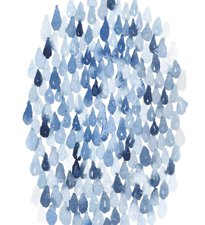 blue watercolor abstract rain art print