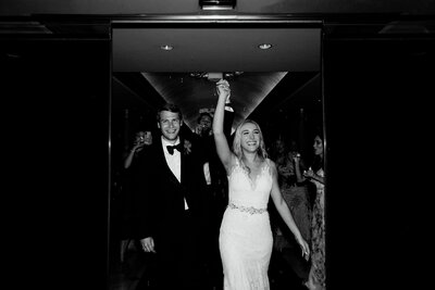 bride and groom exit reception