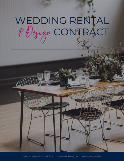 Buy the wedding rental and design contract for specialty rental companies