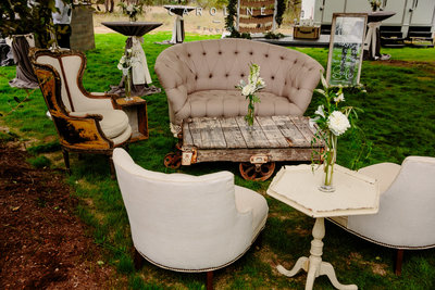 Vintage Lounge at Texas Hill Country Wedding