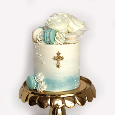 Whippt Kitchen - Baby boy baptism luxe cake