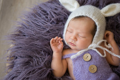 newborn girl with bunny bonnet